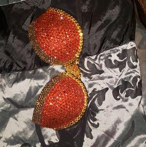 Red and orange crystal bra 32b
